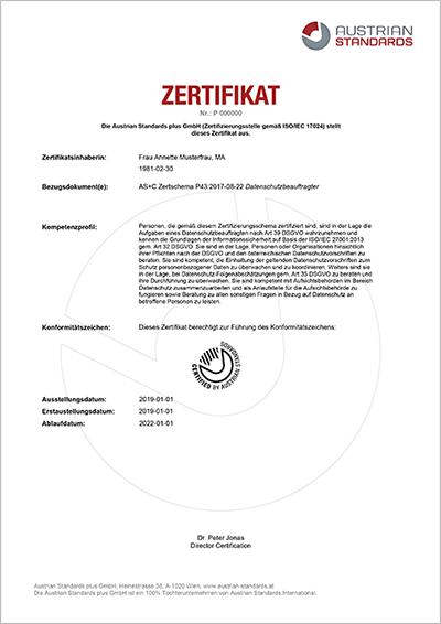 Austrian Standards Datenschutzbeauftragter Beispielzertifikat